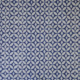 Quadria - Ink Blue - A regular, repeated geometric circle print pattern on linen cotton union fabric in navy blue and light grey