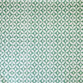 Quadria - Lake Green - Fabric made from white and bright green linen cotton union, with a simple, regular, repeated geometric circle design