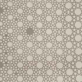 Grand Alhambra Stars - Mushroom - Light grey and beige coloured linen cotton herringbone fabric printed with a design of dots and stars of d