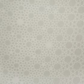 Grand Alhambra Stars - Sandstone - Dots and stars of different sizes printed on linen cotton herringbone fabric in two very similar pale sha