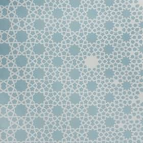 Grand Alhambra Stars - Aqua - Linen cotton herringbone fabric made in light blue and white with a different sized dot and star print pattern