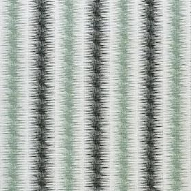 Leina - Celadon and Steel - Duck egg blue-grey and charcoal colours making up stripes with blurred edges on white linen, cotton and nylon fabr