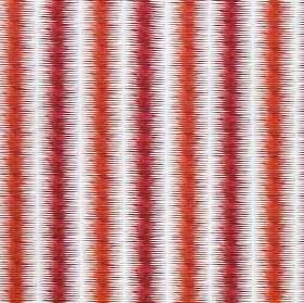 Leina - Persimmon & Brick - Vertical stripes with blurred edges printed in scarlet and chili red on white linen, cotton and nylon blend fabr