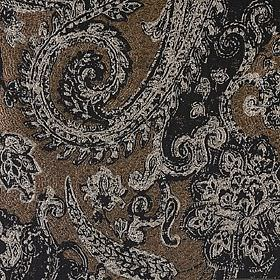 Babylon - Aberdeen - Large, detailed black and light grey patterns on a background of speckled dark brown fabric