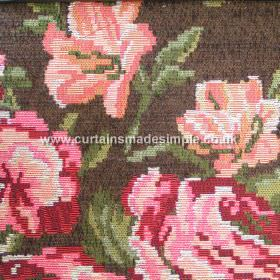 Moldavia - 01 - Blended fabric in dark brown, with large flowers in shades of pink and salmon, with leaves in various shades of green