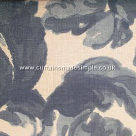 Loza - 04 - Linen fabric patterned with large swirling leaves in various shades of dark blue against a cream coloured background