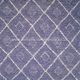 Phulkari - 04 - Dark and light blue stripes and angles arranged in diamond shapes on a white background, all patterning a blended fabric