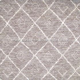 Phulkari - 09 - Blended fabric in white, with regular diamond shaped patterns made from stripes and angles in grey and brown