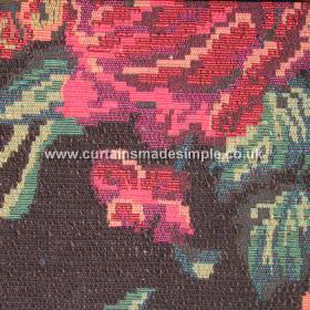 Moldavia - 02 - Blended, textured fabric with a large rose and leaf design which has been shaded in pinks and reds with some greens