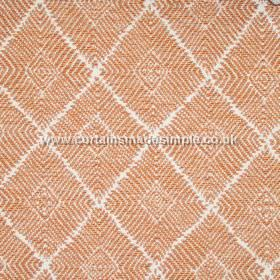 Phulkari - 05 - White and orange fabric featuring a regular diamond shaped pattern made from short, narrow lines and stripes