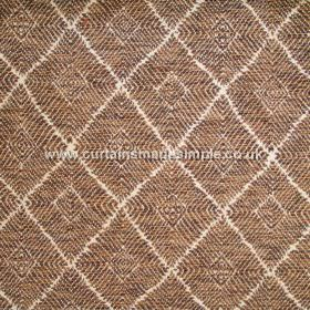Phulkari - 01 - White diagonal lines between diamond shapes made from narrow stripes of brown and dark gold on blended fabric