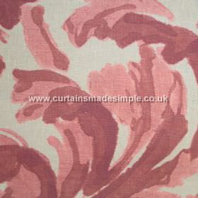 Loza - 02 - Large swirling leaves in shades of dusky pink and purple against a background of light grey coloured linen fabric