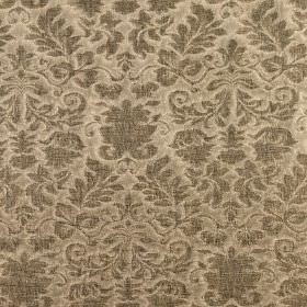 Boj - Forest - Linen fabric in a golden shade of cream, with an ornate, floral, swirled design in brown-grey