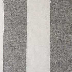 Salines - Formentera - Evenly striped linen fabric in iron grey and white