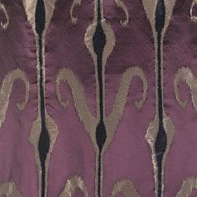 Kaftan - Maharaja - Black bulging stripes on silver stripes which have some swirls, on plain purple fabric