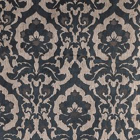 Rajah - Maharaja - Fabric featuring a design of large blue-black and grey-beige flower type swirls