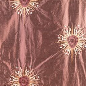 Ruby - Maharaja - Shimmering light red-pink silk fabric, embroidered with cream, orange, red and white bursts which resemble suns