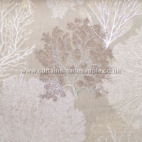 Corail - 06 - A pattern of intricate, vein-like trees covering stone coloured fabric made from a mix of linen, viscose and polyester