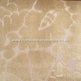 Aquarium - 01 - A large, creamy gold coloured floral and leafy pattern on a background of very pale pink-cream coloured viscose fabric