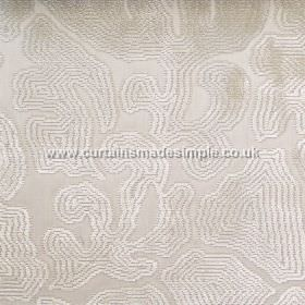 Aquarium - 06 - Concentric white and pale beige bands making up a large pattern on a light grey-silver colour viscose fabric background