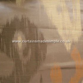 Manchuria - 09 - Streaky cream, dark brown and copper coloured shapes on a grey-brown linen-viscose-silk blend fabric background