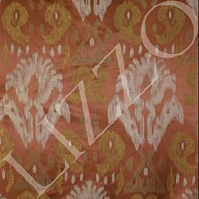 Manchuria - Nomad - Linen, viscose and silk blend fabric featuring large patterns in chalk, gold and copper colours
