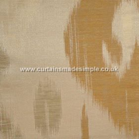 Manchuria - 06 - Light caramel coloured linen-viscose-silk blend fabric featuring a pattern of streaky shapes in grey-green and copper