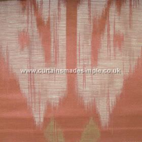 Manchuria - 02 - Terracotta coloured fabric made from viscose, linen and silk, patterned with streaky shapes in white and brown