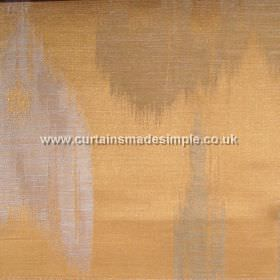 Manchuria - 05 - Orange, brown and grey coloured linen, viscose and silk blend fabric, which features a large pattern which is streaked