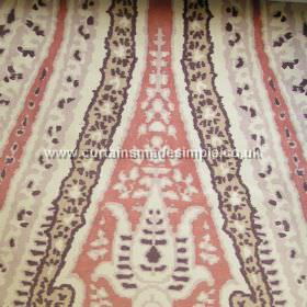 Boheme - 02 - Patterned cotton fabric in salmon pink, cream, dark brown and beige