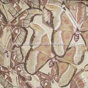 Butterfly - 01 - Large cream, brown, pale green and light pink coloured butterflies overlapping on a cream viscose-linen blend fabric