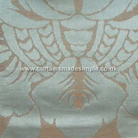 Traviata - 04 - Linen and silk blend fabric featuring a large design in light blue and grey-brown colours