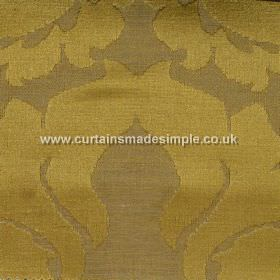 Traviata - 05 - Linen-silk blend fabric in olive and dusky shades of green, with a large and simple pattern