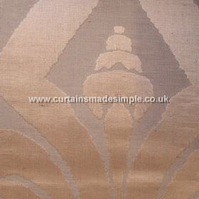 Traviata - 01 - A large, warm copper coloured design on a brown coloured linen-silk blend fabric background