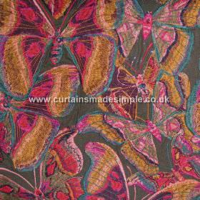 Butterfly - 02 - A dark grey viscose-linen blend fabric background behind a bright, multicoloured, overlapping butterfly design