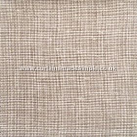 Victoria - 16 - Chocolate and white coloured woven linen fabric