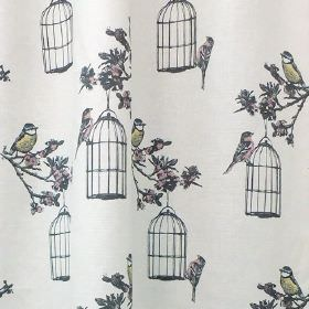 Harrys - Garden - Bluetit, bird cage and floral print fabric made from linen and cotton in off-white, dark grey, and light blue and yellow