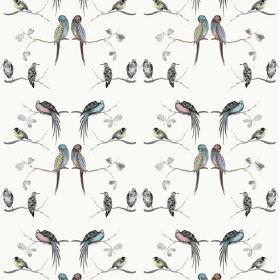 Perched - Multi - Bird print fabric with a linen and cotton blend in white with a repeated pattern in dark grey, light blue, yellow & pink