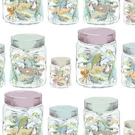 Jars - Multi - White 100% cotton fabric patterned with rows of jars with coloured lids filled with multicoloured sea creature shapes