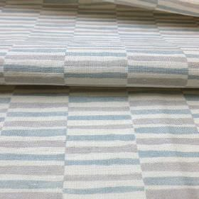 Sussex Stripe - Blue - Rows of short stripes alternating in off-white and pale shades of blue and grey on fabric made from linen and cotton