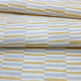 Sussex Stripe - Gold - Gold, white and grey coloured linen and cotton blend fabric patterned with rows of alternating short stripes
