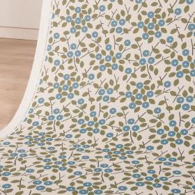 Bud - Nightshade - Simple grey leaves and stylised, circular bright blue flowers printed on white fabric made from cotton and linen