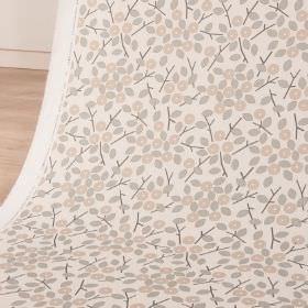 Bud - Sand - Fabric made from cotton and linen with a simple leaf and stylised, circular flower print in white, beige and light grey