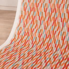 Flip - Firecracker - Geometric patterned cotton and linen blend fabric printed in warm coral, orange and red shades, with some grey and blue