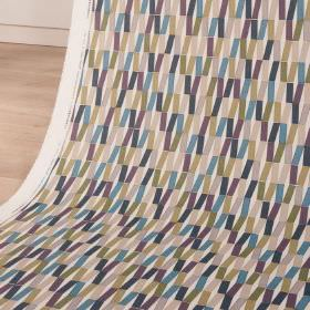 Flip - Nightshade - Cotton and linen blend fabric printed with a modern geometric style design in grey, olive green and dark blue shades