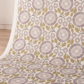 PomPom - Damson - White cotton and linen blend fabric with simple green-brown leaves and circular, stylised flowers in two shades of grey