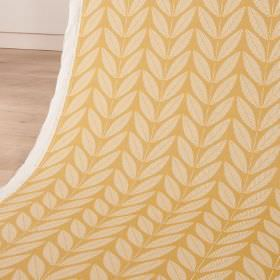 Shoot - Lemon Slice - A very simple, regular leaf pattern arranged in rows over cotton and linen blend fabric, made in cream and light gold