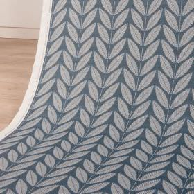 Shoot - Nightshade - Dark marine blue coloured cotton and linen blend fabric, printed with pairs of simple pale blue leaves, arranged in row