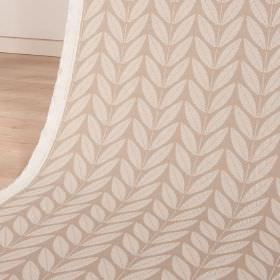 Shoot - Sand - Two pale shades of creamy beige making up a simple leaf pattern arranged in rows over cotton and linen blend fabric