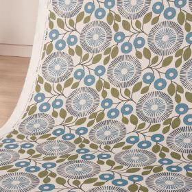 PomPom - Nightshade - White cotton and linen blend fabric printed with stylised, circular florals and simple leaves in blue and green shades